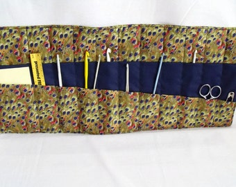 quilted hook case, crochet hook holder, crochet tool roll, crochet hook roll, khaki cotton fabric
