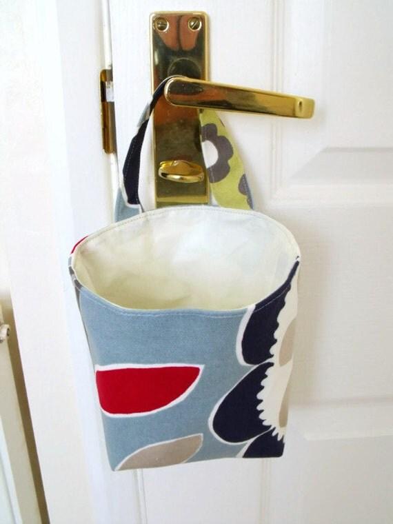 door handle bag, bedstead hanging organiser, key storage, phone holder, cash keep safe, do not forget bag, fabric pouch, blue