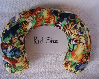Kid Neck Roll Pillow with cats print.