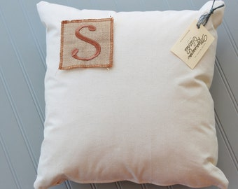 Monogram Pillow - Burlap Monogram Pillow - Initial Pillow - Personalized Pillow - Outdoor Pillow - Canvas Pillow