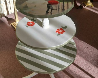 3 tier Vantage pie crust table shabby chic