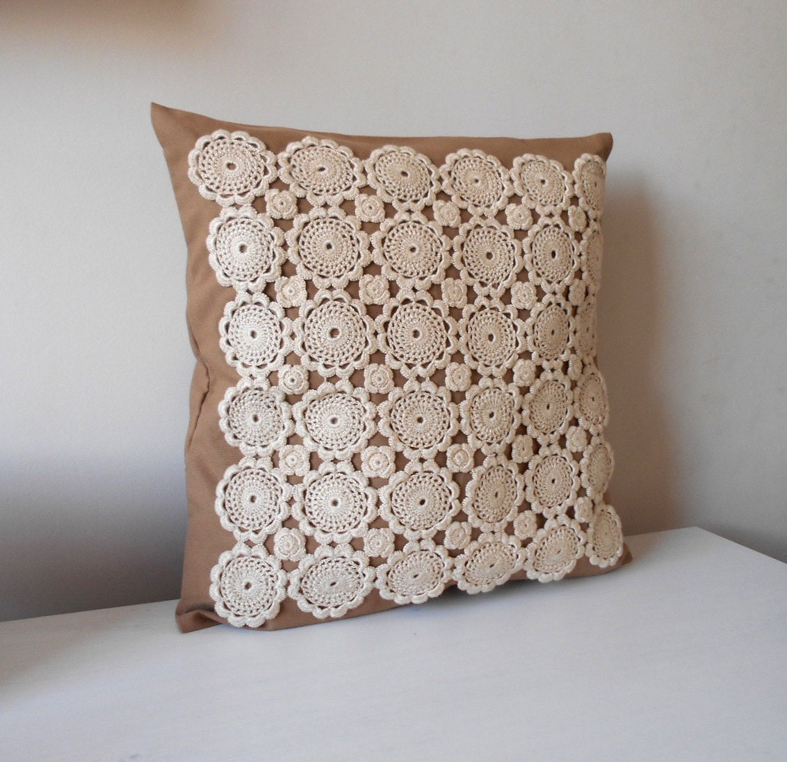 Crochet Pillow Cover Rustic Pillow Decorative Throw Pillow
