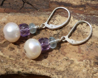 Pearl Earrings Amethyst Aquamarine Leverback Sterling Silver Faceted Gemstone Jewellery Artisan Pearl Designer Boho  Bridal Blue Purple
