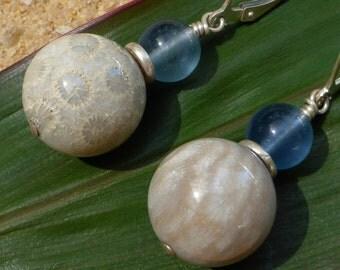 Fossil Coral Earrings Blue Flourite Gemstone Earrings Sterling Silver Leverback Hill Tribe Silver Semi Precious Artisan Agate Designer