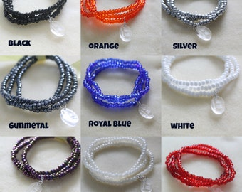 Pack of 3 Glass Seed Bead Bracelets / Multipack - Different Colours Available