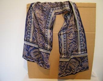 Vintage Liz Claiborne Designer blue w/gold long silk scarf w/orig. tag
