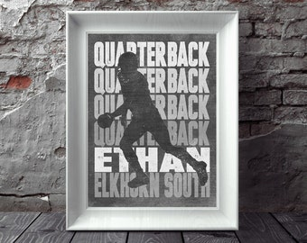 FOOTBALL Position Artwork Personalized Artwork for Quarterback Wide Receiver Lineman Running Back Coach and More! All Positions Available!