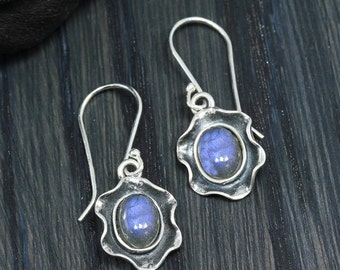ON SALE Labradorite Earrings, Vintage Look, Gemstone Dangle Earrings, 925 Sterling Silver, Artisan Design, Stera Jewelry X877