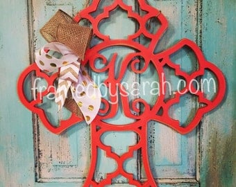 15% OFF Quatrefoil Monogram Cross Wall or Door Hanger, Choose Your Color