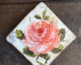 Ceramic Tile with Roses* Mattonella Quadretto di ceramica con Rose