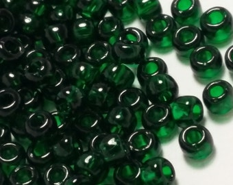 10g Transparent Emerald Green TOHO Seed Beads 6/0 - Approx. 166 Beads - TR-06-939