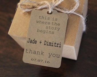 Wedding Favor Thank You Tags -Personalized Wedding Favor Tags-set of 50