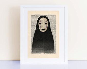 No Face Spirited Away Print on a vintage encyclopedia page (unframed) - home decor, wall art decor, Kaonashi