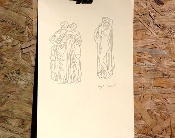 Original illustration pencil drawing of Three Pre Raphaelite Bathing Ladies A4