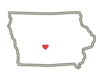 Iowa State Outline Appliqué Designs Machine Applique Embroidery Designs US State Heart 9 Size - INSTANT DOWNLOAD