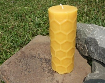 100% Beeswax Honeycomb Pillar Candle  - Free Shipping! -