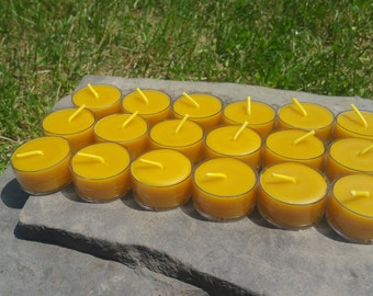 100% Beeswax Tealight Candles - 30 Tealights - Free Ship! - Clear Polycarbonate Cups