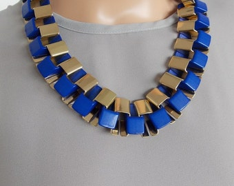 Cobalt Blue and Gold Chunky Chain Statement Necklace