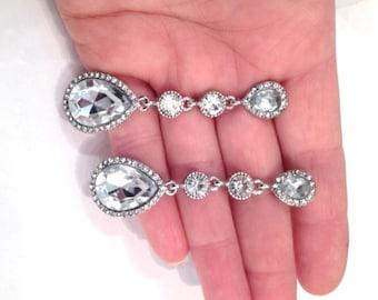 Silver Crystal Bridal Teardrop Earrings