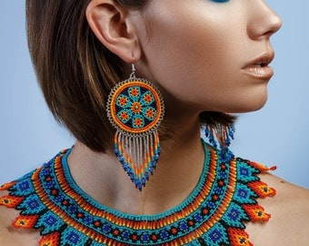 Native American Beaded Necklace, Huichol Necklace, Beaded Bib Necklace, Seed Bead Necklace, Beautiful Tribal Necklace, Aztec Necklace