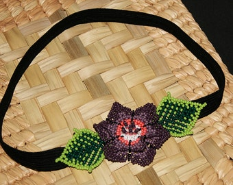 Beaded Headband, Huichol Hair Elastic, Native American Beadwork, Purple Flower Hair Accessory, Flower Ponytail Elastic, Ponytail Holder