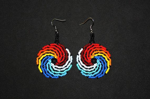 Fire and Water Earrings, Small Medallion Earrings, Huichol Earrings, Cycle Earrings, Native American Beaded Earrings, Natural Balance