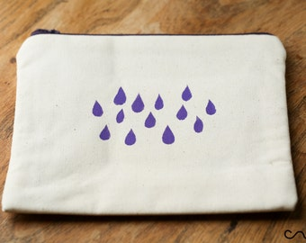 17cm Handmade Make up / Change purse /Zipper Pouch Card Wallet Gift Handprinted Rainy Day Fabric
