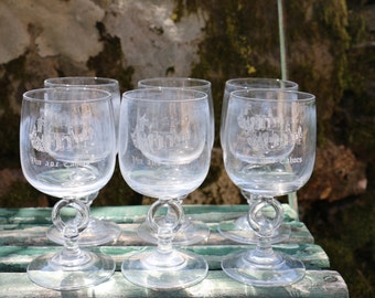 Set of 6 French Vintage CAHORS glasses.  French Vintage Cafe Bar Chic