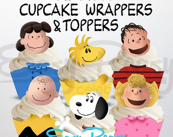 Peanuts, Snoopy, Charlie Brown Cupcake Wrappers & Toppers