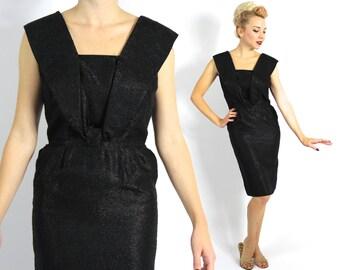 Vintage 50s Metallic Black Party Dress   Little Black Dress   Wiggle Dress, Small