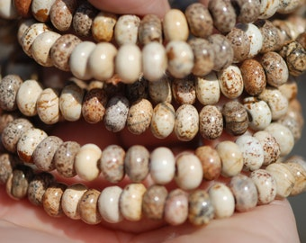 Desert Picture Jasper Beads, Rondelle, Tan, Cream, Gray, Brown figures, 8.5 x 5 mm, 16 inch strand, C4327