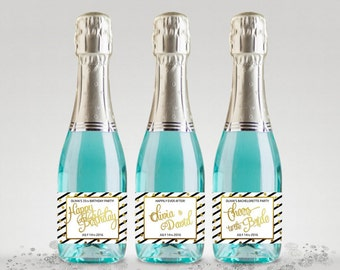 Party Favor Champagne Bottle Labels, Customized Black-White-Gold, Full or Mini Labels - Printable PDF, DIY Print #BWG