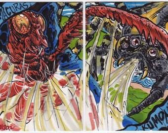 Kamacuras vs Kumonga Personal Sketch Card Puzzle Unique Gift Item Original Artwork