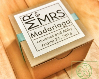 Personalized Wedding Favor Boxes  - 12 qty