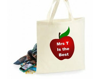 Apple for the Teacher Gift 100% Cotton Tote Bag. Free UK P&P