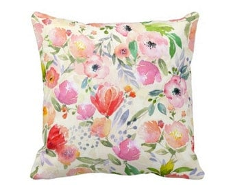 "Watercolor Garden Throw Pillow,  Colorful Floral Art Print 16 or 20"" Square INDOOR or OUTDOOR Pillows, Pink/Orange/Green/Off-White"