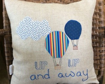 Nursery pillow cover, Appliqued Pillow,Hot Air Balloon pillow,Accent pillow,Nursery Room Decor Pillow Cover, off white cotton canvas