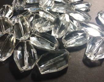Large Translucent Beads - Faceted Irregular Shaped Clear Nugget Bead - FLAT RATE SHIPPING 32mm
