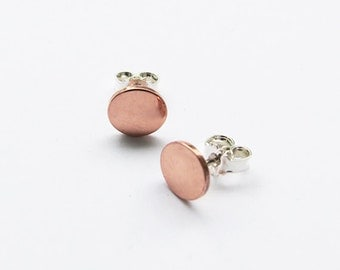 Copper & Silver Stud Earrings - Trendy Post Earrings - Shiny Studs Earrings - Handmade jewelry