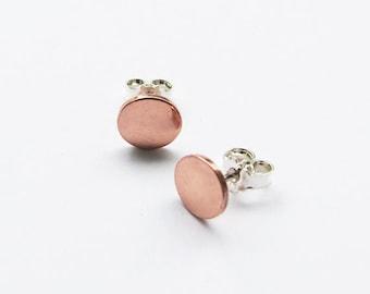 Copper & Silver Stud Earrings - Trendy Post Earrings - Shiny Studs Earrings - Handmade jewelry
