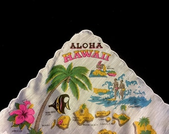Mid Century State Handkerchief-Hawaii/State Handkerchief