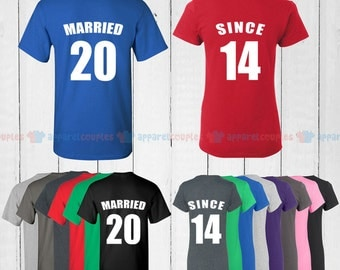 MARRIED SINCE 2014  - Matching Couple Shirts - His and Her T-Shirts - Love Tees