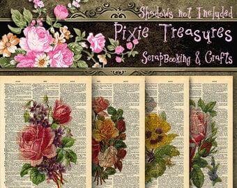 4 Vintage Altered Book Pages