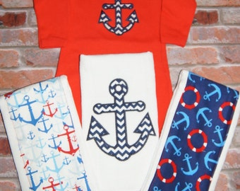 Nautical Baby Boys Gown and Burp Clothes