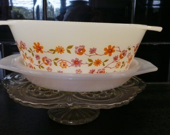 Vintage Arcopal pyrex casserole dish pink and orange