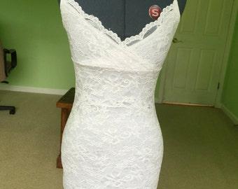 Vintage Carabella White Lace Body Con Dress