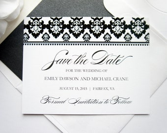 Elegant Damask Save the Date- Black Save the Date Card, Calligraphy, Classic Save the Dates, Formal Save the Dates - DEPOSIT