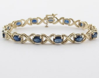 "14k Yellow Gold XO Style Gemstone Natural Sapphire Tennis Bracelet 6 3/4"" 7 carats"