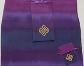 Custom Made Silk Tarot Card Bag Hand-dyed Hand-painted, Purple Fabric, Your choice of design