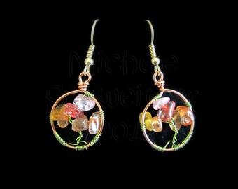 Autumn Bloom -  Wire Wrapped Tree Earrings